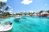 Yacht Boats On Blue Sea Water In Hamilton, Bermuda poster