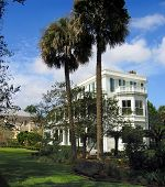 picture of 1700s  - the beautifully groomed gorunds of the major james ladson house on meeting street in charleston - JPG