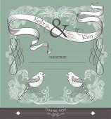 Постер, плакат: карты покрытия дизайн два мало любви птицы карта свадьба или день рождения