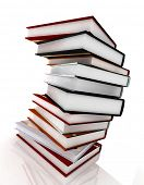 books on glossy white