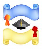 graduation background with paper and hat. vector