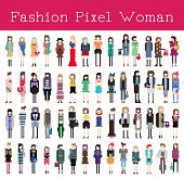Fashion Pixel Woman   Vector Illustration
