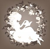 stock photo of girl reading book  - Vintage background with flowers - JPG