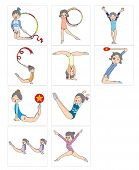 Making alphabets by different of gymnastics posing. Q to Z