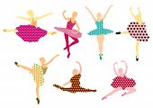 Set of beautiful ballet dancers. Pattern design.