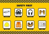 Safety First at Work concept for workers at company including eye and ear protectors respirator safe poster