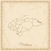 Honduras Region Map: Stilyzed Old Pirate Parchment Imitation. Detailed Map Of Honduras Regions. Vect poster