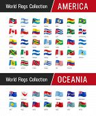 Set Of American And Oceanian Flags - Vector Illustrations poster