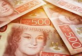 Swedish money bills in stacks, close up poster