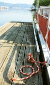 pic of pontoon boat  - Pontoon boat docked at the Holmes Bend Marina on Green River Lake - JPG