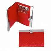 picture of etui  - Red leather key case isolated on white - JPG