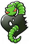 stock photo of envy  - Green worm representing envy eating ones heart out - JPG