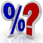 A percentage symbol stands beside a question mark, illustrating the questioning of whether a certain