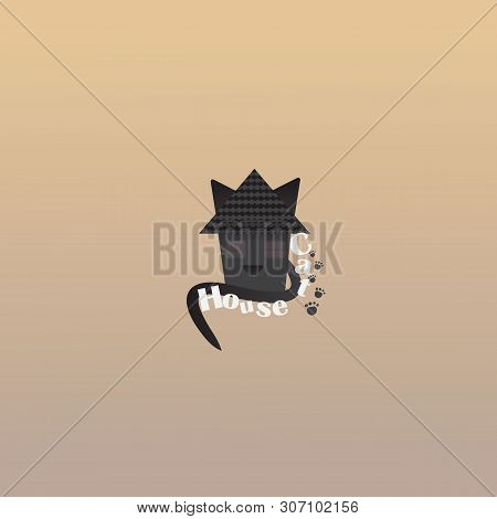 poster of Pet Shop Logotype, Creative Logo For Cats Store, With Black Cat. Vector Emblem For Cats Supplies Of