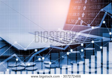 poster of Stock Market Or Forex Trading Graph And Candlestick Chart Suitable For Financial Investment Concept.