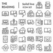 Reading Line Icon Set, Books Symbols Collection, Vector Sketches, Logo Illustrations, Education Sign poster