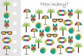 How Many Counting Game With Summer Beach Picture For Kids, Educational Maths Task For The Developmen poster