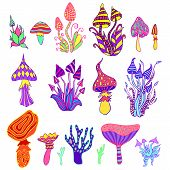 Big Set Psychedelic Artistic Abstract Trippy Mushrooms, White Background. Colorful Hallucinogenic Fa poster