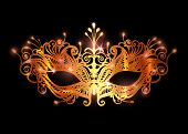 Carnival Mask Icon Gold Silhouette Isolated On Black Background. Laser Cut Mask With Venetian Embroi poster