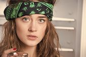 Pretty Girl Or Sexy Woman Hippie With Cute Face In Green Handkerchief Or Bandana On Curly Hair Hold  poster