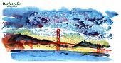 Golden Gate Bridge Isolated Watercolor Illustration San Francisco California United States Of Americ poster