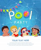 Pool Party Invitation Template Card With Kids Enjoying In Swimming Pool. poster