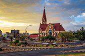 Dramatic Sunset Above Christchurch, A Historic Landmark And Lutheran Church In Windhoek, Capital Cit poster