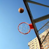 picture of bounce house  - an image of playing basketball at the outside - JPG