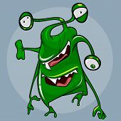 Fantastic Funny Cartoonish Green Creature With Three Eyes And Two Mouths poster
