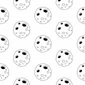 Cute Cartoon Moon Pattern With Cheerful Moon. Funny Vector Black And White Moon Pattern. Seamless Mo poster