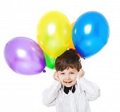 boy with bright balloons