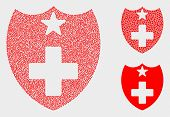 Pixelated And Mosaic Medical Shield Icons. Vector Icon Of Medical Shield Composed Of Random Spheric  poster