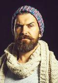 Male Fashion. Bearded Man In Knit Hat And Scarf. Autumn, Winter, Fashion, Style And People Concept.  poster
