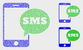 Pixel And Mosaic Smartphone Sms Icons. Vector Icon Of Smartphone Sms Composed Of Irregular Spheric D poster