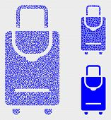 Dot And Mosaic Voyage Luggage Icons. Vector Icon Of Voyage Luggage Combined Of Randomized Spheric El poster