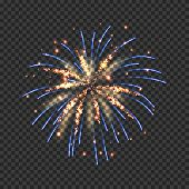 Festive Fireworks With Bright Golden And Blue Sparks. Colorful Pyrotechnics Show Element. Realistic  poster