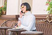 Pleasant Time And Leisure. Call Friend. Relax And Coffee Break. Girl Fashionable Lady With Smartphon poster