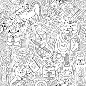 Cats Go To School Funny Seamless Pattern. Coloring Page For Adults And Children. Vector Illustration poster