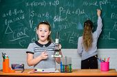Confident At Her Researches. Science Experiments In Chemistry Laboratory. Biology Lesson. Little Gir poster