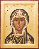 Orthodox religious Icon of saint Mother of God (Mary) on gilding wood