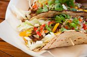 Food Soft Flatbread Beef Vegetable Fajita Type Meal.  Delicious And Nutritious Healthy Lunch Or Dinn poster