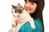 image of minion  - Smiling young woman holds cat isolated on white background - JPG