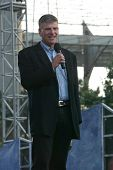 NEW YORK - JUNE 25: Franklin Graham speaks on the second night of the Billy Graham Crusade at Flushi