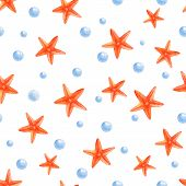 Watercolor Starfishes. Seamless Pattern Starfish On , Cartoon Illustration Of Beach Summer Backgroun poster