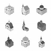 Vector Design Of Landmark And Clergy Sign. Collection Of Landmark And Religion Stock Vector Illustra poster
