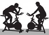 Vector drawing athletes on bike simulators