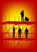 Dibujo de la construcción de estructuras y los trabajadores en tarima vectorial