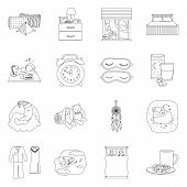 Vector Design Of Dreams And Night Symbol. Collection Of Dreams And Bedroom Stock Symbol For Web. poster