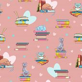 Seamless Pattern Of Books And Cute Clever Cats. Doodle Illustration. Cartoon Background. Vector poster