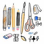 Stationery Vector Illustration. Pencil, Sharpener, Brush, Eraser Hand Drawn School Supplies poster